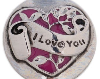 1 PC - 18MM I Love You Heart Enamel Silver Charm for Snap Jewelry KC5383 CC3630