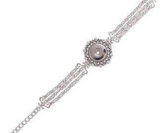"""1 Rhinestone Bracelet - 6.75-8.75"""" FITS 18MM Candy Snap Charm Jewelry Silver KC0712 CJ0831"""