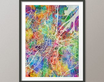 Belfast Map, Belfast Northern Ireland City Map, Art Print (3489)
