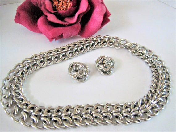 Crown Trifari Necklace Earrings - Silver Tone Choker - Pat. Pend. Philippe -  Flexible  Choker