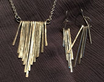 Silver hand hammered Waterfall necklace