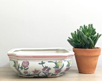 Vintage Succulent Planter Shallow Square Ceramic Asian Planter