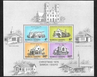 Christmas Vintage Postage Stamps 1979 - Souvenir Sheet - Samoa i Sisifo - Churches - Collectible, Ideal for Framing - MNH