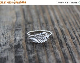 SALE SALE SALE Angel Wing Ring 5 - Sterling Silver Angel feather wing ring - Mother Daughter Jewelry - Simple Delicate Simple - Handmade