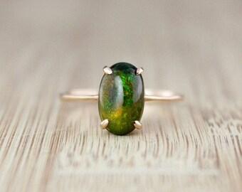 ON SALE Oval Australian Black Opal Ring - 10KT Rose Gold - Green Fire