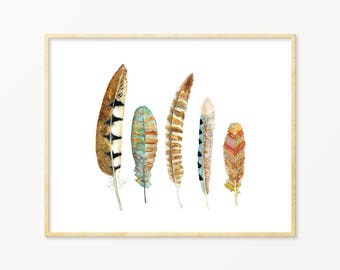 Watercolor Feather Art Print. Feather Art. Feathers. Nature Painting. Tribal Watercolor Feathers Wall Art. Boho Nature Art.