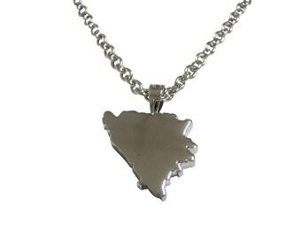 Bosnia Map Shape Pendant Necklace