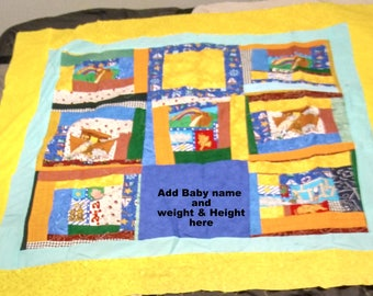 Noah Ark Quilt Top baby Quilt Handmade by MarysTearBears