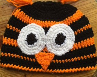 Crocheted Owl Hat - READY TO SHIP