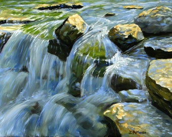 Falls at Prairie Creek, original oil painting by JC Burleson
