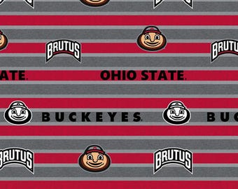 Ohio State University Cotton Fabric-Polo Stripe Design-Sold by the Yard-Sykel's Newest Pattern