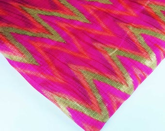 Ikat Print Polyester Fabric-Pink and Gold Ikat Print Sheer Fabric-Dress and Kaftan Fabric By Yard-Pink and Gold Sheer Poly Silk Fabric