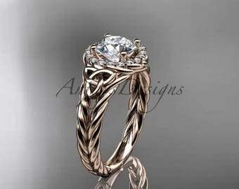 """14kt rose gold halo rope celtic triquetra engagement ring with a """"Forever One"""" Moissanite center stone RPCT9131"""