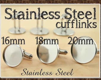 10  -  16mm, 18mm,20mm Stainless Steel Cuff Links. (5 Pair) Optional GLASS(10) Adhesive Seals (10 or 20) These Won't Break- 5 Pr Cufflinks