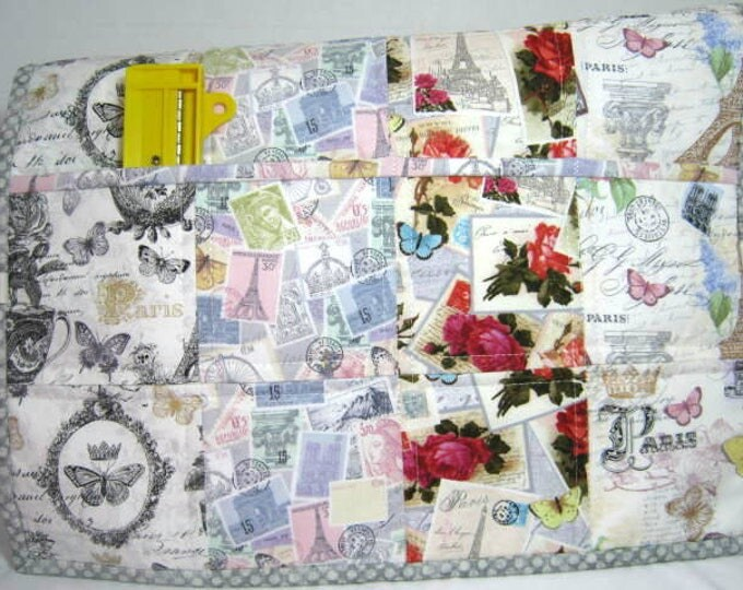 Paris Theme  Reversible Quilted Sewing Machine Protector Dust Cover
