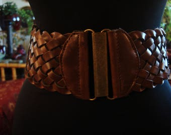Vintage 1990s Boho Chic Weaved Belt with Canvas in Back and Brass Colored Accents