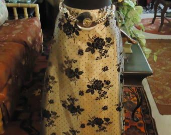 Vintage 1997 Long Holiday Skirt In Gold with Black Velvet Flowers