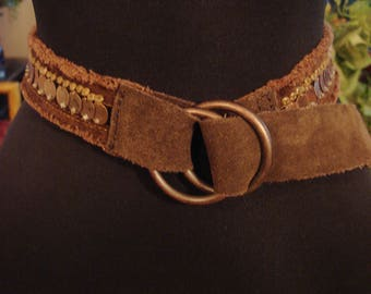 Vintage 1990s GAP Chocolate Suede and Soft Cotton Suede Concho Belt