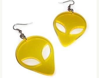 Alien Ohrringe, gelb UV-Retro Laser geschnitten Ohrringe, Sci-Fi