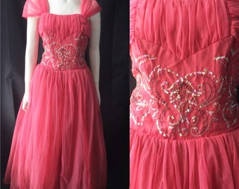 Volup 1950s chiffon evening gown/ prom dress