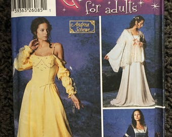 Misses Adult Renaissance Medieval Gown Dress Halloween Costume Sewing Pattern Simplicity 5843 Size 12 14 16 18 20 Uncut FF
