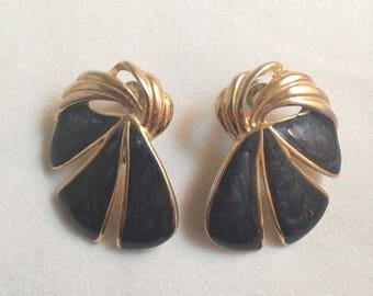 Vintage 1980s Gold with Navy Enamel Ribbon Earrings