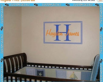 ON SALE NOW Recctangular Border with Initial and Name Vinyl Wall Decal / Nursery Decal / Kids Room Decal / Bedroom Decal / Name Decal / Home