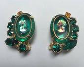 15% OFF SALE Vintage DeLizza & Elster aka Juliana Green Cameo Earrings  Item: 16268