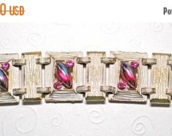 15% OFF SALE Bracelet 6 Links White Enamel Rose Navettes   Item: 12190