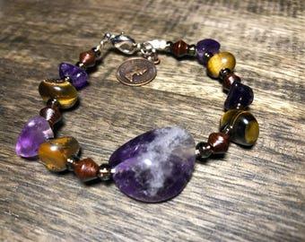 Beaded amethyst bracelet