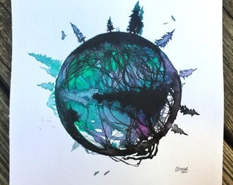 Their Own World - Original Ink Watercolor Landscape Painting by Em Campbell