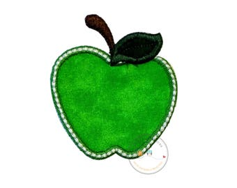 Bright granny smith green apple iron on applique-mini apple machine embroidered fabric patch-DIY boutique fashions