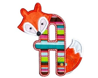 ON SALE NOW Woodland fox letter A machine embroidered iron on no sew patch, fox embroidered monogram letter a, ready to ship