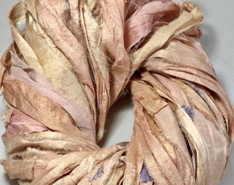 New Recycled Sari Silk Ribbon Pastel Peachy Pink Jewelry Tassel Ribbon Eco Gift Wrap Garland Weave Crochet Fair Trade Fiber Art Supply