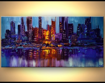 "Modern City Art Print on Canvas Embellished  - City Lights - 48""x24"" - Art by Osnat"