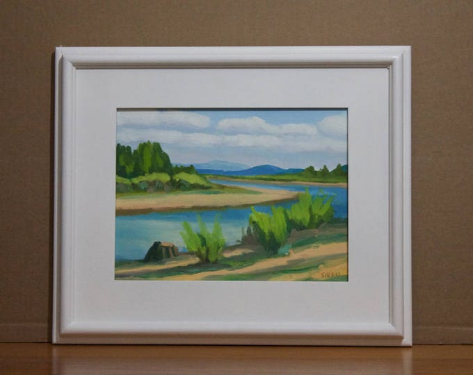 Original Landscape Painting Wickiup Banks Oil on Canvas Framed