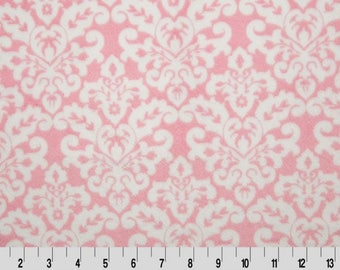 Pet Blanket Brown Pink Damask with Brown Dot Minky Back Personalization included