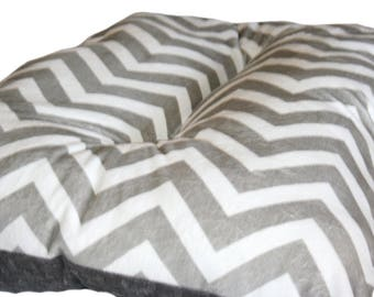 13x22 Dog Crate Mat Gray and White Chevron Minky Pet Bed