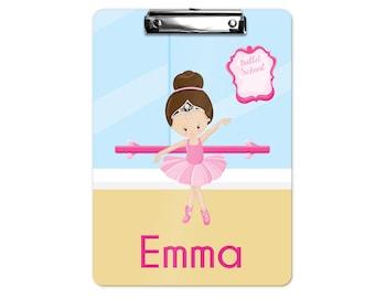 Personalized Kids Clipboard - Ballet Class Ballerina Crown Ballet Room, Single Sided or Double Sided Custom Clipboard Back to School
