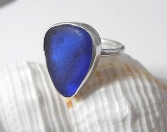 Size 7.5 Cobalt Blue Sea Glass Ring, Sterling Silver Setting, Rare Cobalt Blue, .925 Sterling, Dark Blue, Mystical Moon Designs