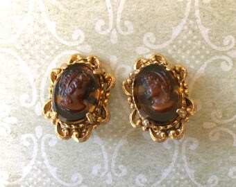 Pair of Vintage Designer Earrings with Glass Cameos by Florenza