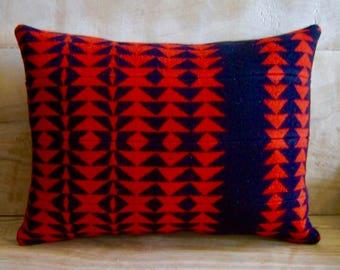 Wool Pillow - Red Black Arrow - Boho Native Geometric Tribal