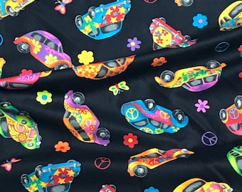 Love Bug Volkswagen Fabric/ Herbie with black background Novelty Fabric
