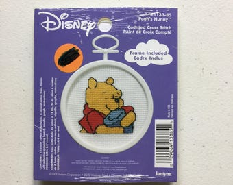 Winnie the Pooh Cross Stitch Ornament KIT, Mini Disney Counted Cross Stitch, Pooh's Hunny - NEW UNOPENED