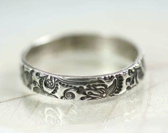 Sterling Band Ring Fairytale Pattern - I Love You inscription