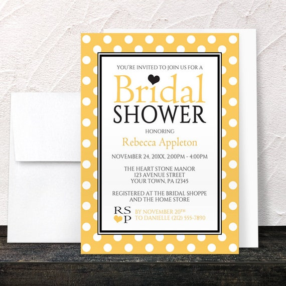 Polka dot yellow bridal shower invitations black white and yellow il570xn filmwisefo