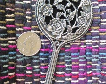 Small Pewter Roses hand mirror
