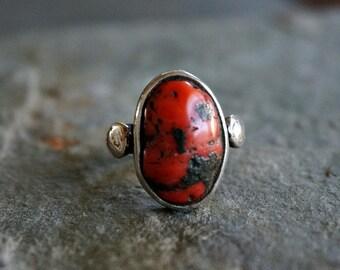 Vintage Mediterranean Red Coral Ring 925 Silver Ring Women Ring