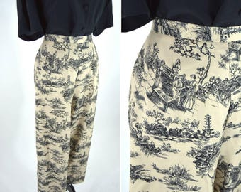 "Vintage 80s 90s Black Beige Printed Dress Slacks - Tapered High Waist Chinese Scenery Print Pants - Elastic waist - 33 to 39 "" inch waist"