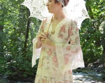 SUMMER SALE Vintage 70's Pink Floral Prairie Sundress - Angel Sleeve Maxi Empire waist  Dress - Boho Festival Dress - ladies size small to s